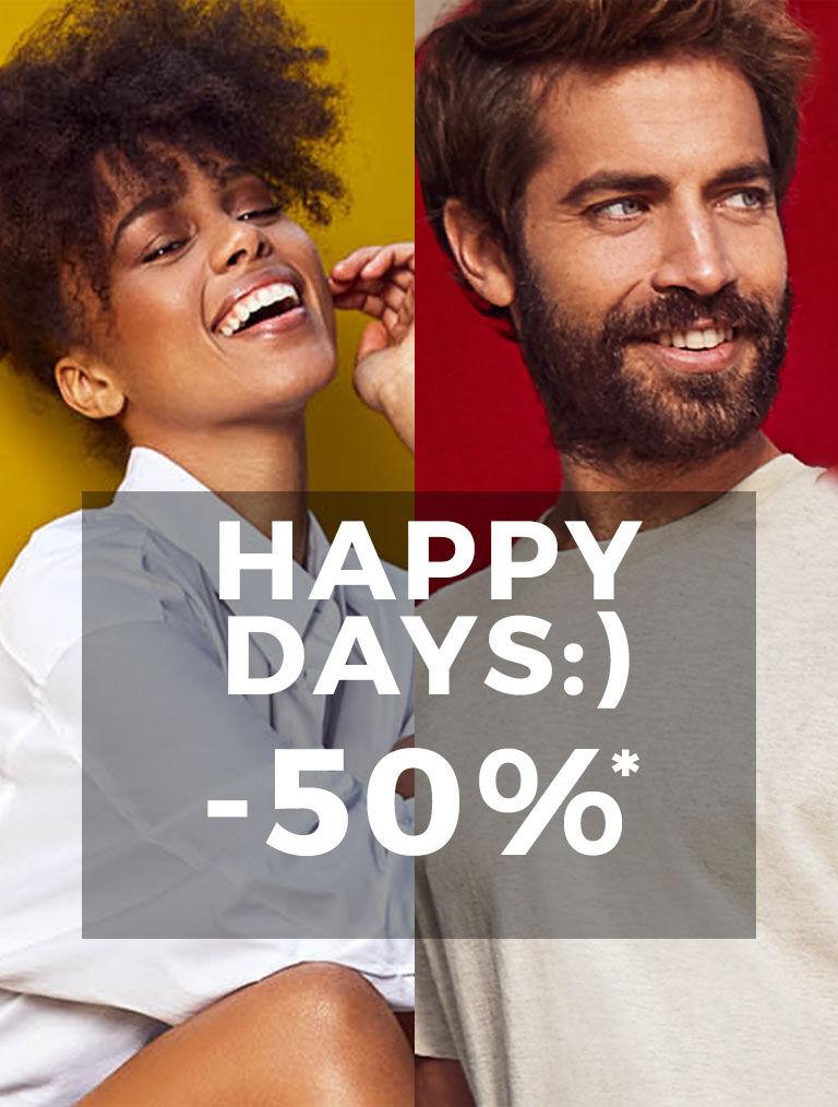 Imagen de hombre y mujer con descuento de Happy Days