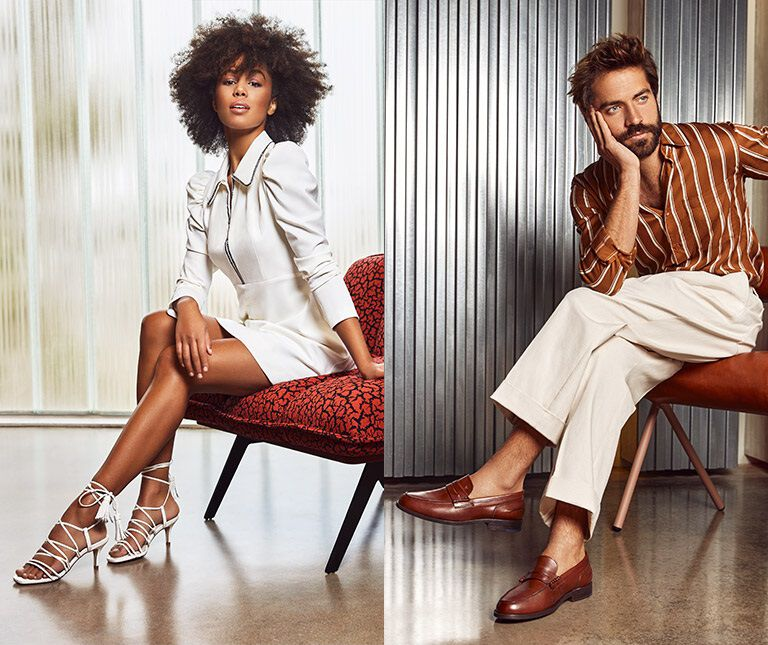 Image of woman with white strappy sandals and men's image with leather loathing